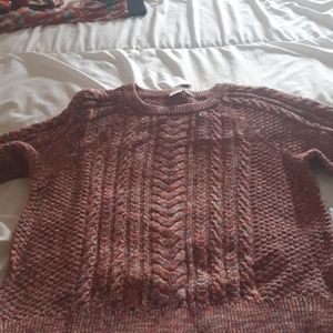 Colorful cable knit sweater